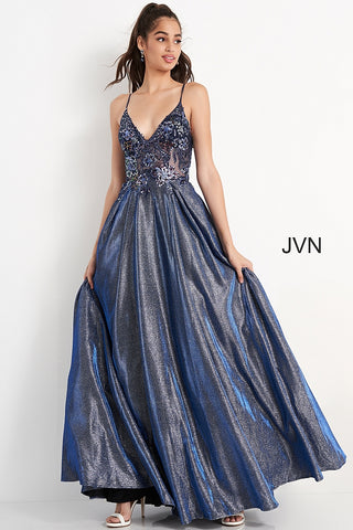 Jovani JVN06465 is a long a Line formal Ballgown. Featuring a sheer Embellished Embroidered floral lace bodice. Open sheer back with lace up corset. Pleated A Line Ball gown skirt with an iridescent shimmer has pockets! JVN 06465  Available Sizes: 00,0,2,4,6,8,10,12,14,16,18,20,22,24,  Available Color: Navy