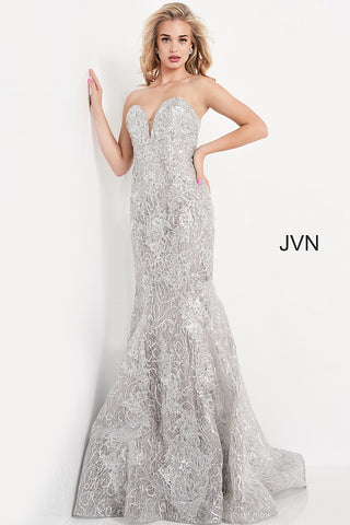 JVN06473 strapless plunging sweetheart neckline embellished mermaid long prom dress evening gown   Color Silver  Sizes  00, 0, 2, 4, 6, 8, 10, 12, 14, 16, 18, 20, 22, 24  JVN by Jovani 06473