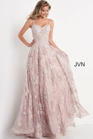 Jovani JVN06474 - JVN 06474 is a Long a line formal evening dress. fitted sweetheart corset style bodice with boning, Floral lace Appliques & eyelash lace edges. beaded & Crystal Rhinestone embellished. Flower embroidered glitter tulle ball gown skirt. Lush Skirt with horse hair trim.  Available Sizes: 00,0,2,4,6,8,10,12,14,16,18,20,22,24  Available Colors: Lilac, Mauve