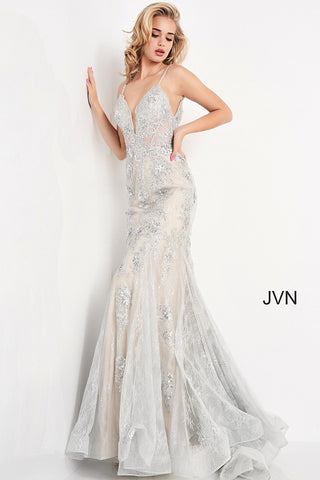 Jovani JVN06475 - JVN 06475 is a Stunning Long fitted formal evening gown. Featuring a solid lace design with floral lace appliques embellished with Beading & Sequins. Fit & Flare Mermaid silhouette with a lush sweeping trumpet skirt & Train. Sheer corset style fitted bodice with boning. open V Back. This Backless Prom dress has beaded spaghetti straps and a plunging neckline. Great Pageant Style as well! Available Sizes: 00,0,2,4,6,8,10,12,14,16,18,20,22,24  Available Colors: Silver, Black, Black/Nude