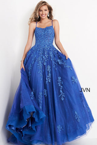 Jovani JVN06644 is a Long Lush Ballgown Prom Dress. This gown features a sheer fitted bodice with a scoop neckline and spaghetti straps. Floral lace appliques Embellish the top and cascade down into the full a line skirt. Open corset lace up tie back with a sweeping train. JVN 06644 Available Sizes: 00,0,2,4,6,8,10,12,14,16,18,20,22,24  Available Colors: Cobalt/Blue, Lilac/White
