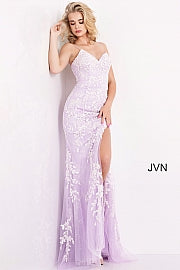 Jovani JVN 06660 sz 00 lilac lace v neckline prom dress formal gown backless