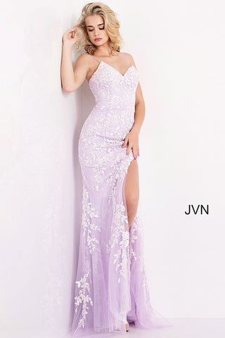 Jovani JVN06660 - JVN 06660 is a long fitted Lace formal evening gown. This Backless prom dress with a lace up corset back closure features floral lace appliques embellished with crystal rhinestones over a lace layer. Fit & Flare Silhouette with a lush sweeping train and a wide thigh slit. Available Sizes: 00,0,2,4,6,8,10,12,14,16,18,20,22,24  Available Colors: Cobalt/Blue, Lilac/White