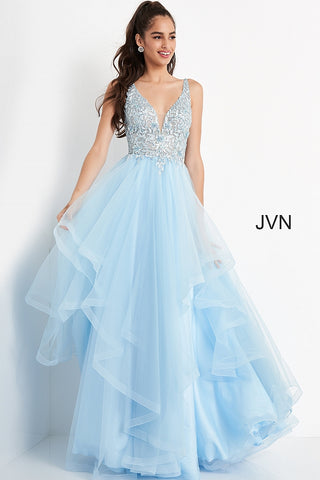 JVN06743 Plunging neckline sheer lace prom dress with layers of tulle trimmed in horsehair trim for added fullness in your ball gown style evening gown.  JVN by Jovani 06743 is perfect for prom or pageant or your next formal event. Available colors:  Sky Blue  Available sizes:  00-24