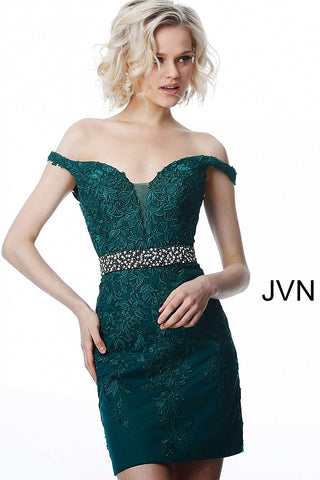 JVN by Jovani 1102 JVN1102 off the shoulder lace sweetheart neckline fitted homecoming dress with embellished waistline cocktail dress short reception dress.  Crystal embellished waist belt plunging neckline with mesh insert  Available Colors: Blue, Emerald, Lilac, Navy, Off-White, Red  Sizes:  00-24  JVN1102