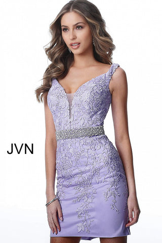 Jovani JVN 1102 Off the Shoulder Short Fitted Lace Cocktail Dress Homecoming 2020