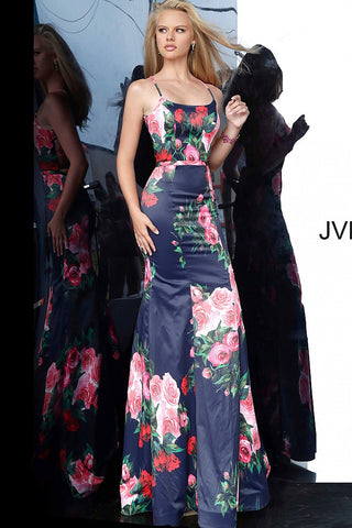 JVN 1110 is a long Satin floral print Prom Dress. This Luxurious Satin Evening Gown features a Mermaid Silhouette with a full flare skirt and Open Back with a lace up tie corset back. JVN1110