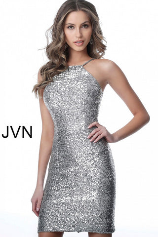 JVN1112 short fitted sequin high neckline open back fitted cocktail dress homecoming dress short prom dress