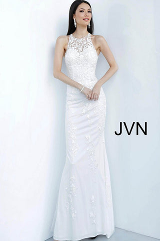 JVN Jovani 1289 high sheer neckline lace fitted prom dress evening gown