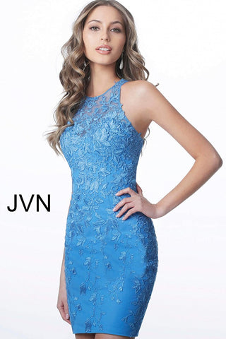 JVN by Jovani 1290 Short fitted lace cocktail dress with a sheer crew neckline and sheer keyhole back homecoming dress.