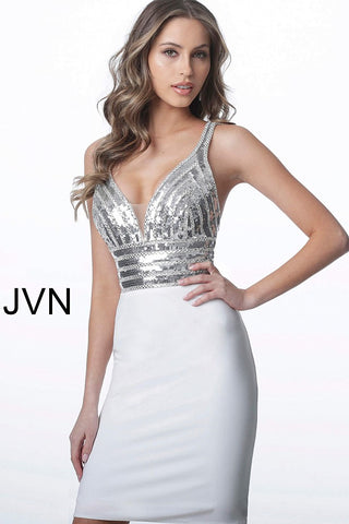 JVN by Jovani 1333 Short Fitted Cocktail Dress. Sequin embellished bodice v neckline fitted homecoming dress