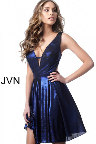 Jovani JVN 1499 Short Fit and Flare V Back Metallic Cocktail Dress Holiday Gown Party
