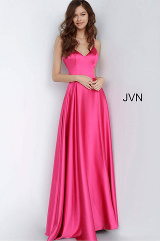 JVN1710 V neckline open back A line satin prom dress evening gown bridesmaids dresses