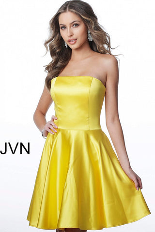 JVN1717 straight neckline satin homecoming dress