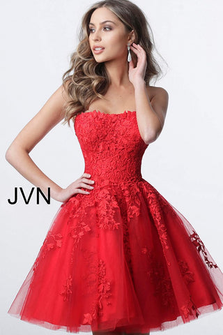 Jovani JVN1830 lace and tulle strapless straight neckline fit and flare short cocktail dress homecoming dress Jovani JVN 1830 Homecoming, Short Cocktail Dress, Formal Evening gown. Strapless Floral Lace embellished homecoming dress  Available Colors: Burgundy, Light Blue, Light Pink, Navy, Off White/Nude, Red  Available Sizes:  00-24