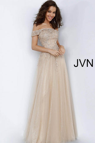JVN by Jovani 2004 off the shoulder embroidered A line evening gown