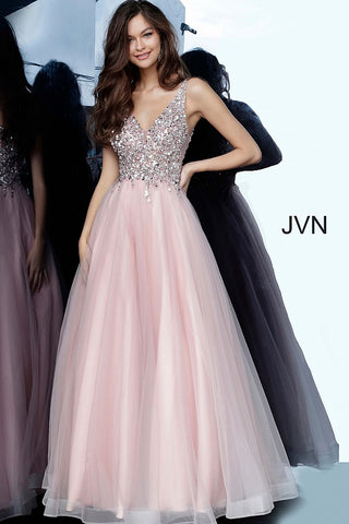 JVN2007 Blush Full tulle long skirt, sleeveless fully beaded bodice, sheer side panels, plunging neckline, V shape back.