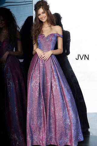 JVN by Jovani 2013 Long Iridescent Shimmer 2020 Prom Dress Ball Gown Off the Shoulder
