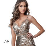 JVN2091 is a sequin embellished fitted cocktail dress with wrap style v neckline and cross straps in the lower back. Embellished straps, Waistband & Edges in gold or black.