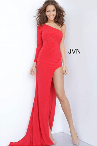 JVN2122 One long sleeve fitted embellished prom dress sexy evening gown in jersey with high slit