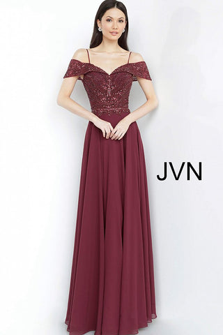 JVN by Jovani 2157 off the shoulder embellished bodice long maxi dress