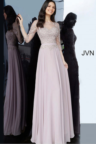 JVN2167 maxi evening dress, floor length flowy chiffon skirt, embroidered bodice with belt at high waist, sheer three quarter sleeves, sheer boat neck with illusion sweetheart, sheer close back in mauve or navy mother of the bride or groom gown.