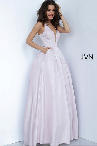 JVN2172 Mauve pink shimmer A line prom dress with criss cross tie straps in the open back