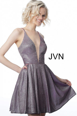 JVN2173 plunging neckline lace up back iridescent homecoming dress
