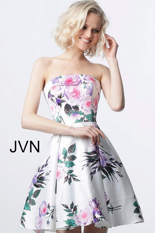 JVN2187 straight lapel neckline floral fit and flare homecoming dress