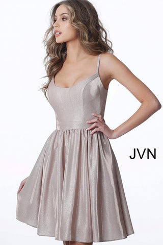 Scoop Neckline Spaghetti Straps Short Dress JVN2190