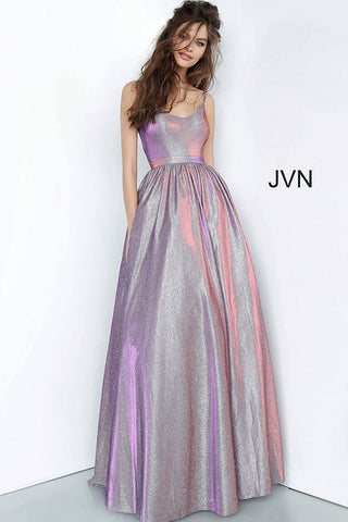 JVN2191 Purple scoop neckline iridescent A line prom dress with pockets