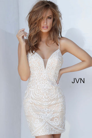 JVN2201 is a short Fitted Lace Embellished Cocktail Dress. Embroidered Lace designs along the entirety of the gown with Embellished Spaghetti Straps and a Plunging Neckline with a mesh panel. Homecoming dress reception dress.