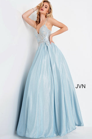 JVN by Jovani 2206 is a Magical Iridescent Shimmer Ballgown. Featuring a Sheer Lace Applique embellished Bodice with lace embellished spaghetti straps. corset lace up back. Long Full Iridescent Shimmer Pleated Ballgown skirt with pockets. Romantic & Sultry this Gown is fit for a Queen! Great for Prom Dresses, Pageant Dresses & Formal Event Wear! Available at Glass Slipper Formals Lake City FL! Closure: Invisible Back Zipper up to waist, lace up back.