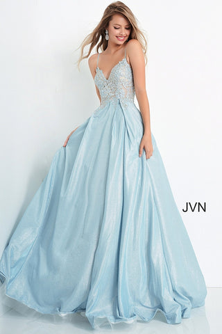 JVN2206 JVN by Jovani 2206 is a Magical Iridescent Shimmer Ballgown. Featuring a Sheer Lace Applique embellished Bodice with lace embellished spaghetti straps. corset lace up back. Long Full Iridescent Shimmer Pleated Ballgown skirt with pockets. Romantic & Sultry this Gown is fit for a Queen! Great for Prom Dresses, Pageant Dresses & Formal Event Wear! Available at Glass Slipper Formals Lake City FL! Closure: Invisible Back Zipper up to waist, lace up back.
