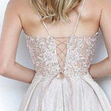 JVN by Jovani 2206 Nude Sheer Embellished Ballgown Prom Dress Shimmer Iridescent evening gown  corset lace up back