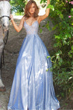JVN2206 JVN by Jovani 2206 Periwinkle Sheer Embellished Ballgown Prom Dress Shimmer Iridescent evening gown