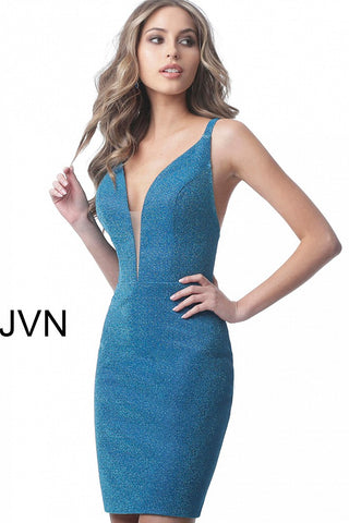 JVN by Jovani 2219 plunging neckline with spaghetti straps that triple down the open back fitted jersey cocktail or homecoming dress features a stunning Iridescent shimmer glitter fabric prefect for a formal or semi formal event!