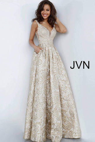 JVN by Jovani 2228 brocade champagne A line evening dress