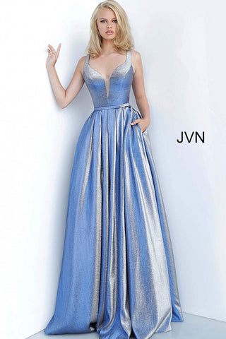 JVN by Jovani 2229 Long Iridescent Size 18 Blue Shimmer Prom Dress Ball Gown 2020
