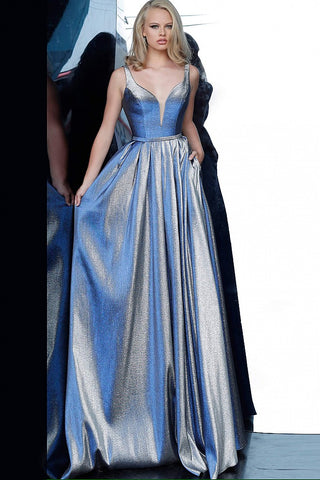 JVN 2229 is a Stunning Iridescent Blue Shimmer Prom Dress. Ball Gown Silhouette with a Deep V Plunging Neckline and pleated skirt. V midrise back