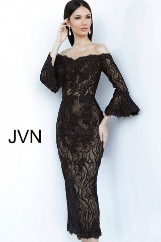 JVN by Jovani 2241 off the shoulder lace bell sleeve tea length cocktail dress