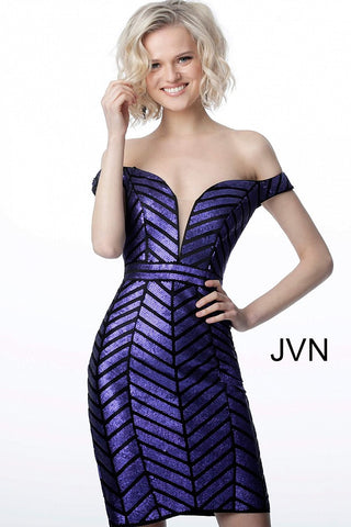 JVN2247 off the shoulder fitted sequin homecoming dress