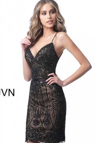 JVN2249 embellished spaghetti straps homecoming dress