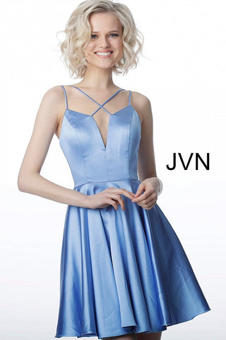 JVN2276 criss cross strap neckline short homecoming dress