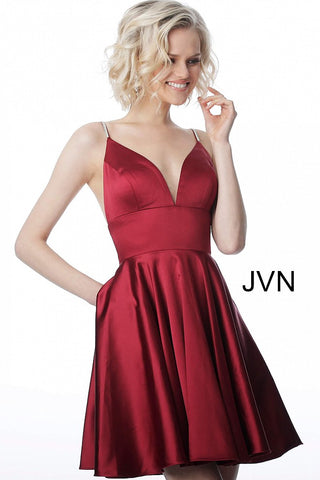 JVN2278 embellished spaghetti straps fit and flare homecoming dress
