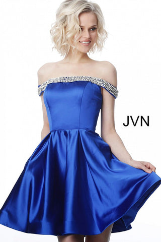 Jovani JVN 2283 Short Cocktail Dress Off the Shoulder Fit Flare Homecoming Prom Gown