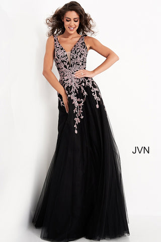 Jovani JVN2302 Size 8 Floral V neck A Line Ballgown Prom Dress Formal