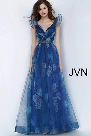JVN2342 V neckline party evening gown with exuberant flared neckline and sleeves to stand out at an event.  This evening dress is in print and has a ruched bodice and flowy A line skirt with horsehair trim and embellished belt in a blue floral print.