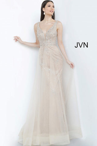 JVN2343 Embellished Prom Dress with a plunging neckline. Fitted gown with a stretch shimmer glitter is overlayed with flowing tulle sheer skirt. crystal embellished bodice with Deep v Neckline and embellished waistband. Evening gown mother of the bride groom gown.