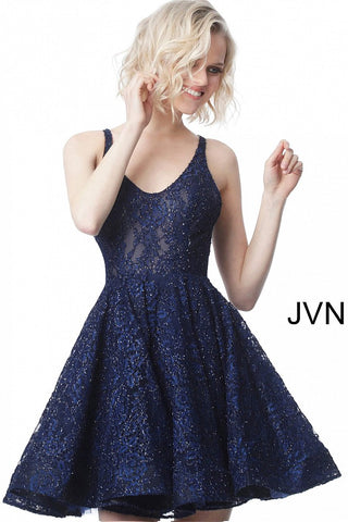 Jovani JVN 2362 Short Cocktail Dress Fit Flare Sheer Scoop Neck Lace Embellished Homecoming